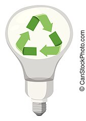 Green recycle symbol led light