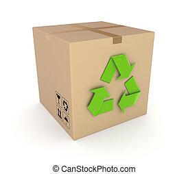 Green recycle symbol on a carton box.