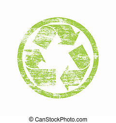 green recycled sign over white