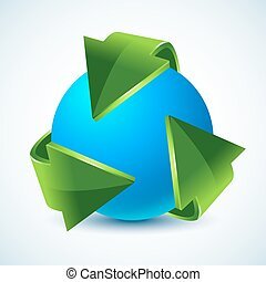 green recycling arrows and blue earth