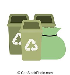 green recycling basket isolated icon
