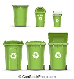 Green Recycling Bin Bucket Vector For Glass Trash. Opened And Closed. Front View. Sign Arrow. Isolated