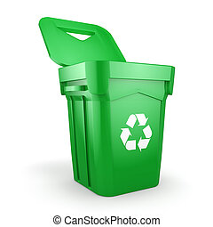 Green recycling Bin - Green recycling bin isolated on white...