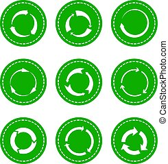 Green recycling round arrows