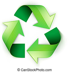 green recycling symbol - Vector illustration of green...