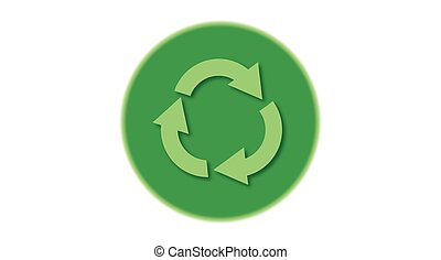 Green recycling symbol in circle