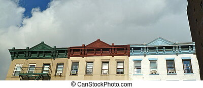 green, red and blue cornices