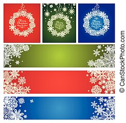 Green, red and blue decoration with paper snowflakes for...