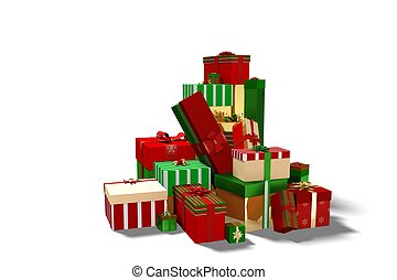 Green red and gold christmas gifts on white background