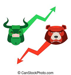 Green Red Bull and bear. Traders at stock exchange. Business allegory. Fall and rise of quotations. Green and red arrow. Character set for business infographics