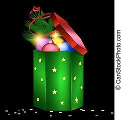 green red Christmas box and balls