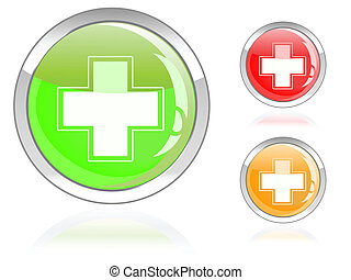 glossy first aid cross icon