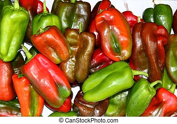 Green red peppers fresh raw market vegetables