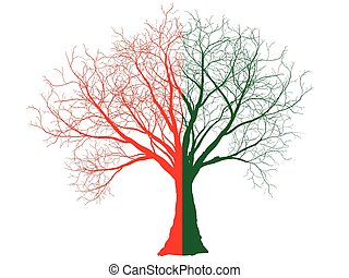 Green-red tree silhouette isolated on white background, vector