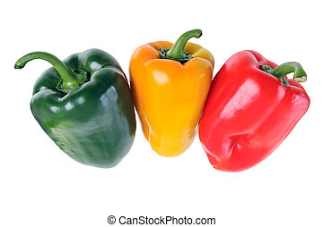 Green, red, yellow pepper