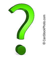 Green reflective shiny question mark isolated on white