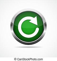 Green refresh button. Vector illustration