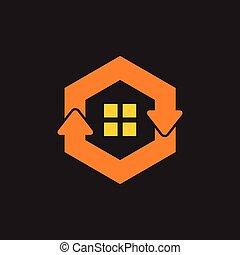 green refresh home hexagonal arrow symbol logo vector
