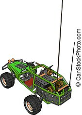Green remote control car, illustration, vector on white background.