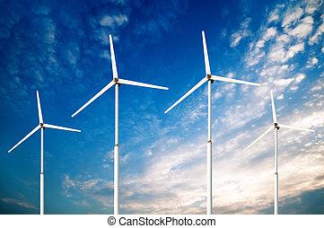 Green renewable energy concept - wind generator turbines in...