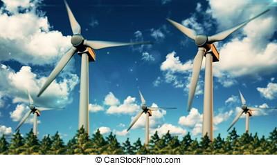 Green renewable energy concept - wind generator turbines in sky