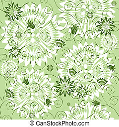 Green repeating floral pattern