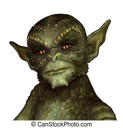Green Reptilian Alien - A green alien or gargoyle - 3d...