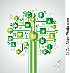 Green resources technology concept tree design. Vector file layered for easy manipulation and custom coloring.