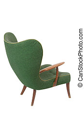 Green retro armchair on white background