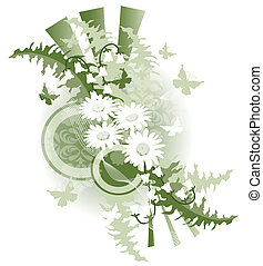 Green Retro Floral