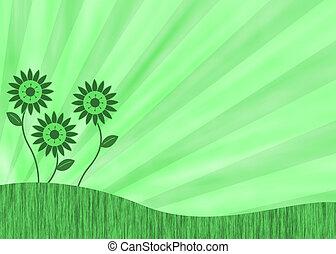 Green retro flower background