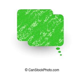 Green Retro Grunge Chat Bubble