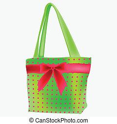 green retro hand bag