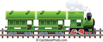 green retro locomotive with coach