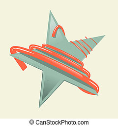 Green Retro Paper Star Illustration with Red Strip - Ribbon