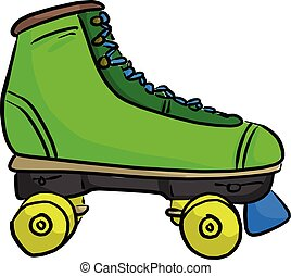 green retro roller skate vector illustration sketch doodle hand drawn with black lines isolated on white background