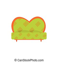 Green retro sofa or couch, living room or office interior,...
