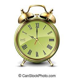 Green retro style alarm clock.
