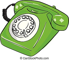 green retro telephone vector illustration sketch doodle hand drawn with black lines isolated on white background