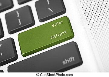 Green Return Button - Green Return Laptop Button. Grayscale...