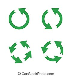 Green reusable arrow icons, eco recycle or recycling vector signs isolated on white background