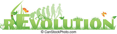 Green rEvolution - Revolution text decorated with, flowers, ...