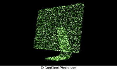 Green revolving computer monitor - Shimmering green...