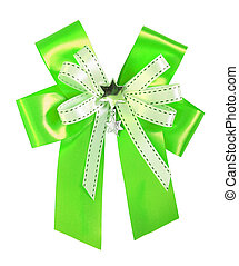 Green ribbon and bow Isolated on white background