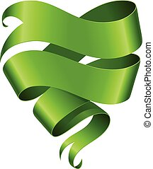 Green ribbon banner in the shape of heart isolated on white background