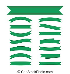 Green ribbon banners set decoration