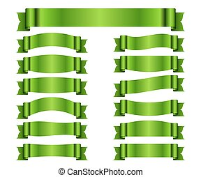 Green ribbon banners set silk