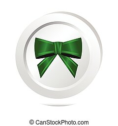 Green ribbon bow button icon