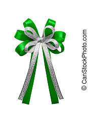 Green ribbon bow isolated on white background.