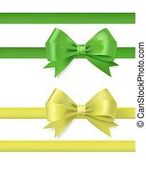 green ribbon bow vector illustration on white